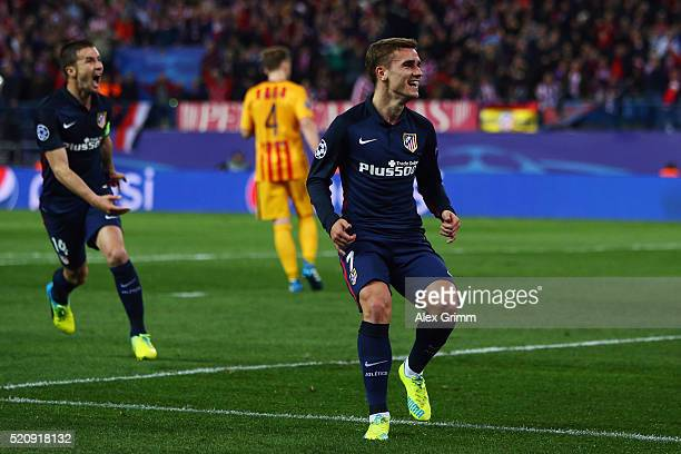 Antoine Griezmann of Atletico celebrates his team's first goal during the UEFA Champions league Quarter Final Second Leg match between Club Atletico...