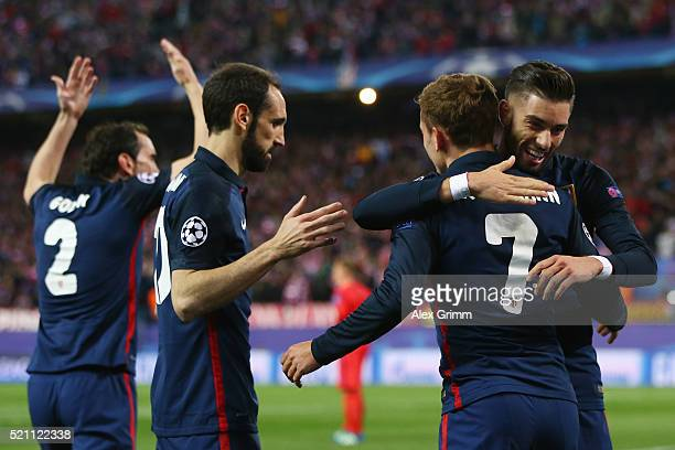 Antoine Griezmann of Atletico celebrates his team's first goal with team mates during the UEFA Champions league Quarter Final Second Leg match...