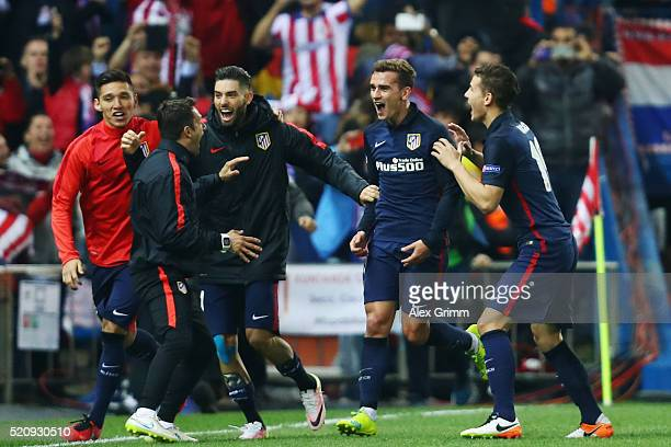 Antoine Griezmann of Atletico celebrates his team's second goal with team mates during the UEFA Champions League Quarter Final Second Leg match...