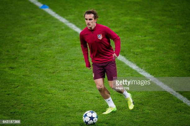 Antoine Griezmann of Atletico controls the ball during the training prior the UEFA Champions League Round of 16 first leg match between Bayer...