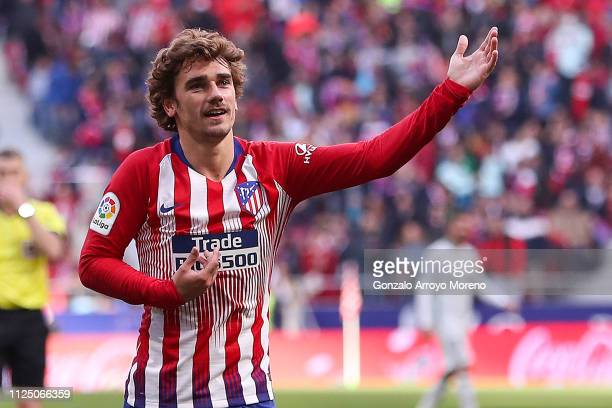Antoine Griezmann of Atletico de Madrid celebrates after scoring his team's first goal during the La Liga match between Club Atletico de Madrid and...