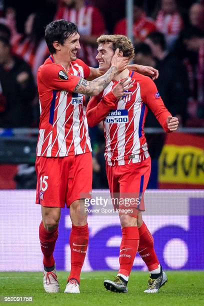Antoine Griezmann of Atletico de Madrid celebrates after scoring his goal with Stefan Savic of Atletico de Madrid during the UEFA Europa League...