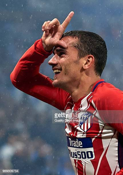 Antoine Griezmann of Atletico de Madrid celebrates after scoring his sides second goal during the UEFA Europa League Final between Olympique de...