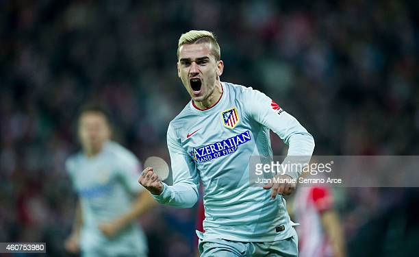 Antoine Griezmann of Atletico de Madrid celebrates after scoring during the La Liga match between Athletic Club de Bilbao and Club Atletico de Madrid...