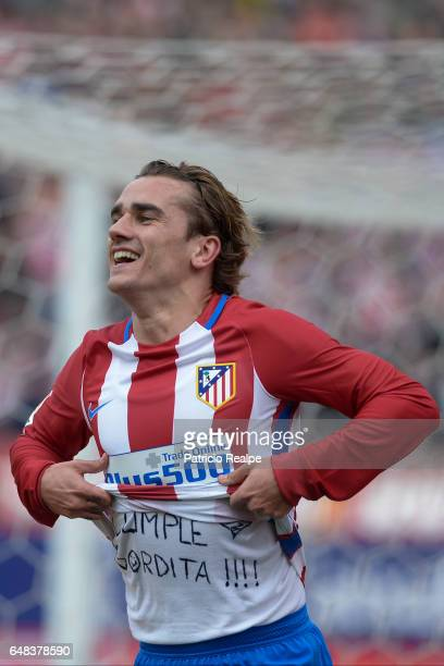 Antoine Griezmann of Atletico de Madrid celebrates after scoring the first goal of his team during the La Liga match between Atletico de Madrid and...