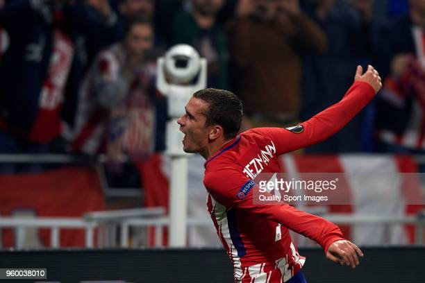 Antoine Griezmann of Atletico de Madrid celebrates after winning the UEFA Europa League Final between against Olympique de Marseille at Stade de Lyon...
