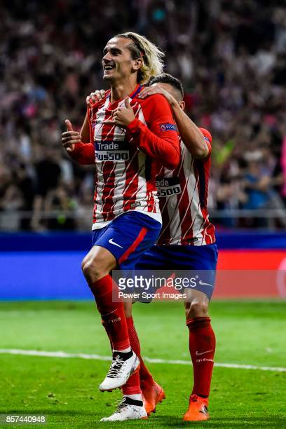 Antoine Griezmann of Atletico de Madrid celebrates during the UEFA Champions League 201718 match between Atletico de Madrid and Chelsea FC at the...