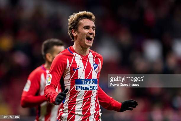 Antoine Griezmann of Atletico de Madrid celebrates his fourth goal during the La Liga 201718 match between Atletico de Madrid and CD Leganes at Wanda...