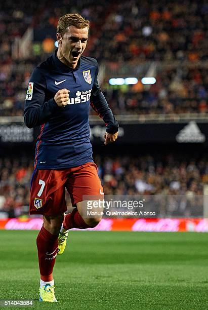 Antoine Griezmann of Atletico de Madrid celebrates scoring his team's first goal during the La Liga match between Valencia CF and Atletico de Madrid...