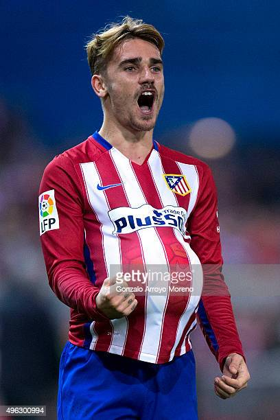 Antoine Griezmann of Atletico de Madrid celebrates scoring their opening goal during the La Liga mathc bewteen Club Atletico de Madrid and Real...
