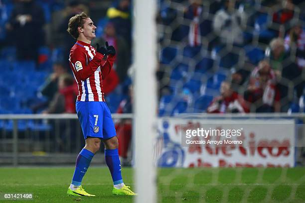 Antoine Griezmann of Atletico de Madrid celebrates scoring their opening goal during the Copa del Rey Round of 16 second leg match at Estadio Vicente...