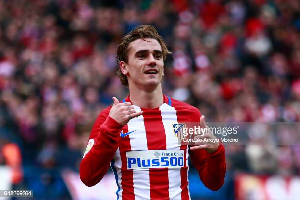 Antoine Griezmann of Atletico de Madrid celebrates scoring their third goal during the La Liga match between Club Atletico de Madrid and Valencia CF...