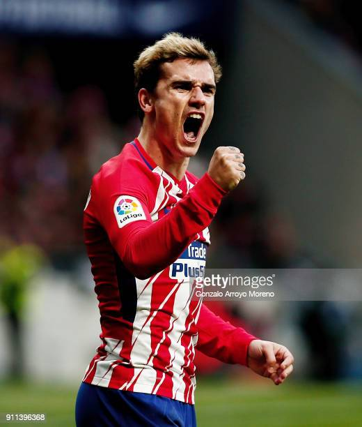 Antoine Griezmann of Atletico de Madrid celebrates scoring their opening goal during the La Liga match between Club Atletico Madrid and UD Las Palmas...