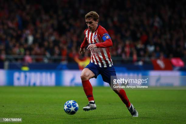 Antoine Griezmann of Atletico de Madrid controls the ball during the Group A match of the UEFA Champions League between Club Atletico de Madrid and...