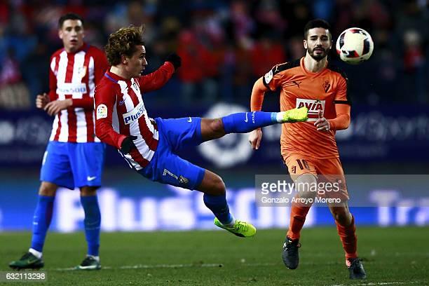 Antoine Griezmann of Atletico de Madrid does a scissor kick during the Copa del Rey quarterfinal match between Club Atletico de Madrid and SD Eibar...