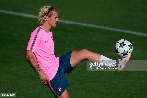 Antoine Griezmann of Atletico de Madrid excersises during a training session on the eve of the UEFA Champions League Group C match against Chelsea FC...