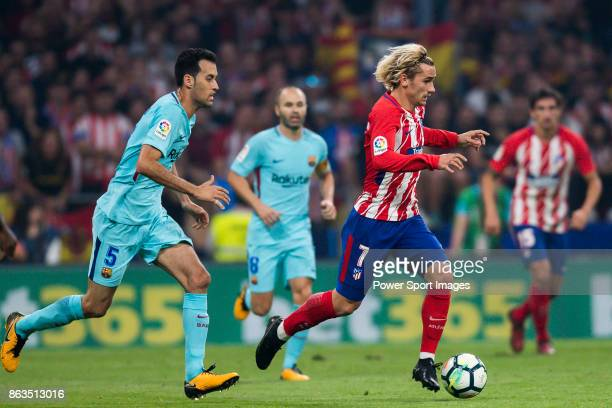 Antoine Griezmann of Atletico de Madrid in action during the La Liga 201718 match between Atletico de Madrid and FC Barcelona at Wanda Metropolitano...