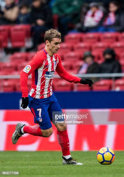 Antoine Griezmann of Atletico de Madrid in action during the La Liga 201718 match between Atletico de Madrid and Getafe CF at Wanda Metropolitano on...