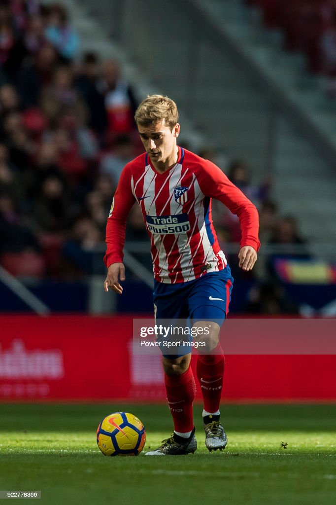 Antoine Griezmann of Atletico de Madrid in action during the La Liga 2017-18 match between Atletico de Madrid and UD Las Palmas at Wanda Metropolitano on January 28 2018 in Madrid, Spain.