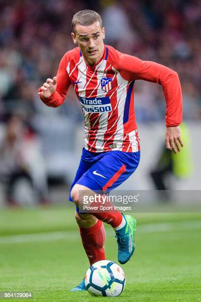 Antoine Griezmann of Atletico de Madrid in action during the La Liga match between Atletico Madrid and Real Betis at Wanda Metropolitano on April 22...