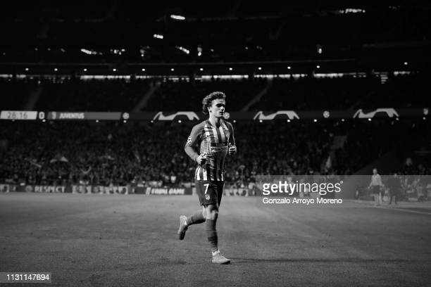 Antoine Griezmann of Atletico de Madrid in action during the UEFA Champions League Round of 16 First Leg match between Club Atletico de Madrid and...