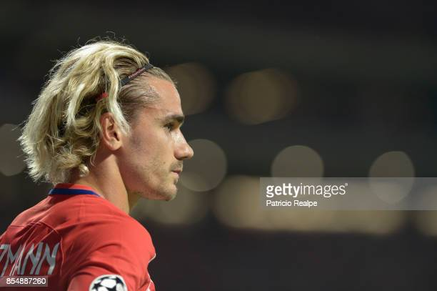 Antoine Griezmann of Atletico de Madrid looks on during a match between Atletico de Madrid and Chelsea as part of UEFA Champions League at Wanda...