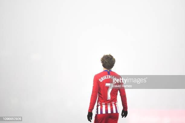 Antoine Griezmann of Atletico de Madrid looks on during the La Liga match between SD Huesca and Club Atletico de Madrid at Estadio El Alcoraz on...