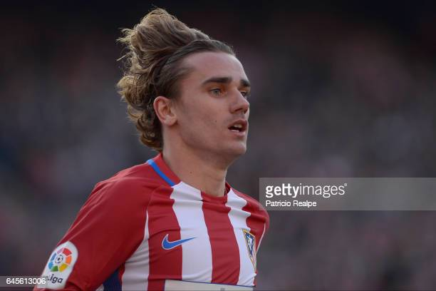 Antoine Griezmann of Atletico de Madrid looks on during the La Liga match between Atletico Madrid and FC Barcelona at Vicente Calderon Stadium on...