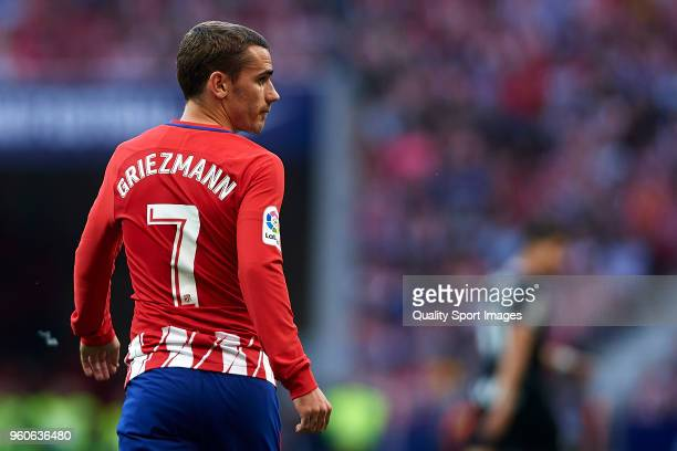 Antoine Griezmann of Atletico de Madrid looks on during the La Liga match between Atletico Madrid and Eibar at Wanda Metropolitano on May 20 2018 in...
