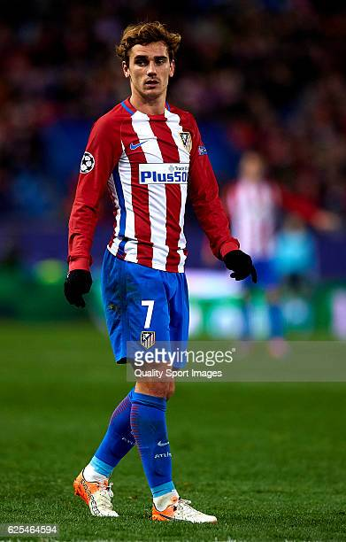 Antoine Griezmann of Atletico de Madrid looks on during the UEFA Champions League Group D match between Club Atletico de Madrid and PSV Eindhoven at...