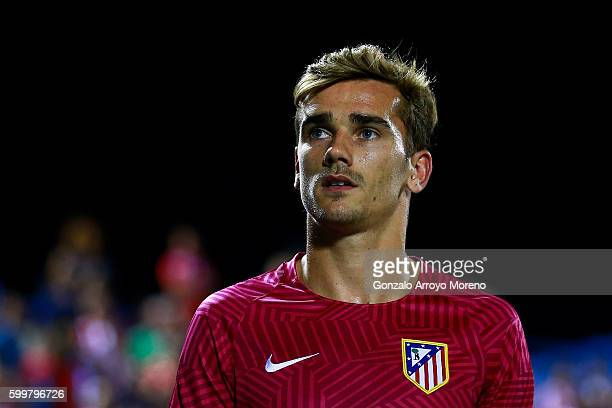 Antoine Griezmann of Atletico de Madrid looks on prior to start the La Liga match between Club Deportivo Leganes and Club Atletico de Madrid at...