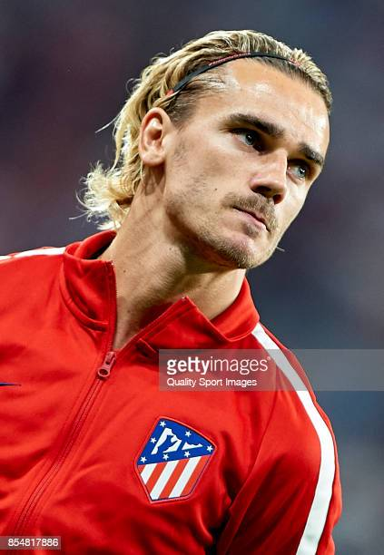Antoine Griezmann of Atletico de Madrid looks on prior to the UEFA Champions League group C match between Atletico Madrid and Chelsea FC at Vicente...