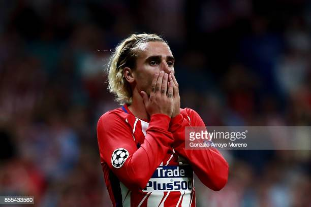 Antoine Griezmann of Atletico de Madrid reacts as he fail to score during the UEFA Champions League group C match between Atletico Madrid and Chelsea...