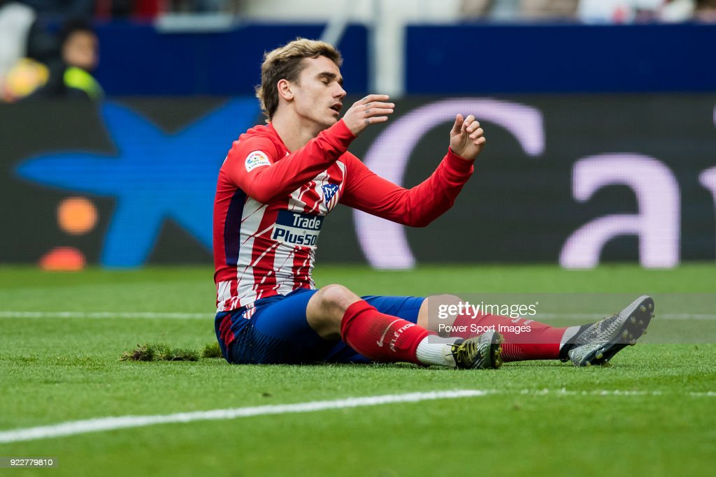 Antoine Griezmann of Atletico de Madrid reacts during the La Liga 2017-18 match between Atletico de Madrid and UD Las Palmas at Wanda Metropolitano on January 28 2018 in Madrid, Spain.