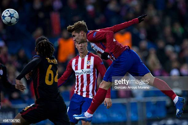 Antoine Griezmann of Atletico de Madrid scores their opening goal during the UEFA Champions League Group C match between Club Atletico de Madrid and...