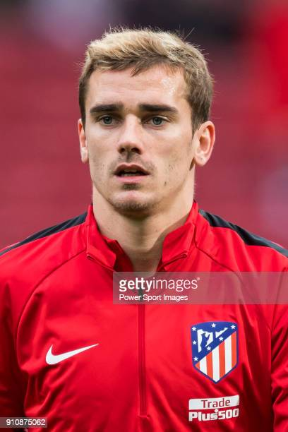 Antoine Griezmann of Atletico de Madrid warms up prior to the La Liga 201718 match between Atletico de Madrid and Girona FC at Wanda Metropolitano on...