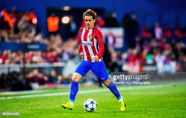 Antoine Griezmann of Atletico in action during the UEFA Champions League Round of 16 second leg match between Atletico Madrid and Bayer Leverkusen at...