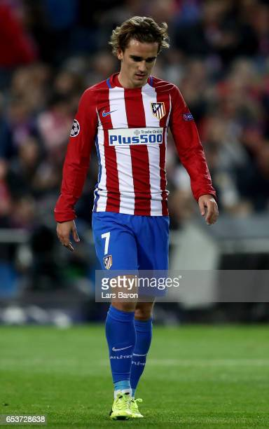 Antoine Griezmann of Atletico is seen during the UEFA Champions League Round of 16 second leg match between Club Atletico de Madrid and Bayer...