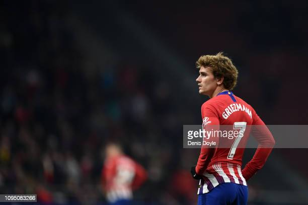 Antoine Griezmann of Atletico looks dejected during the Copa del Rey Round of 16 match between Atletico Madrid and Girona at Wanda Metropolitano on...