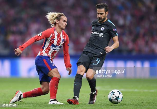 Antoine Griezmann of Atletico Madrid and Cesc Fabregas of Chelsea battle for the ball during the UEFA Champions League group C match between Atletico...