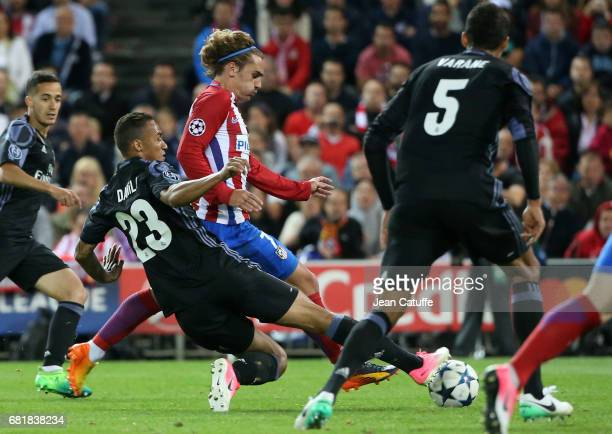 Antoine Griezmann of Atletico Madrid and Danilo Luiz da Silva of Real Madrid during the UEFA Champions League Semi Final second leg match between...