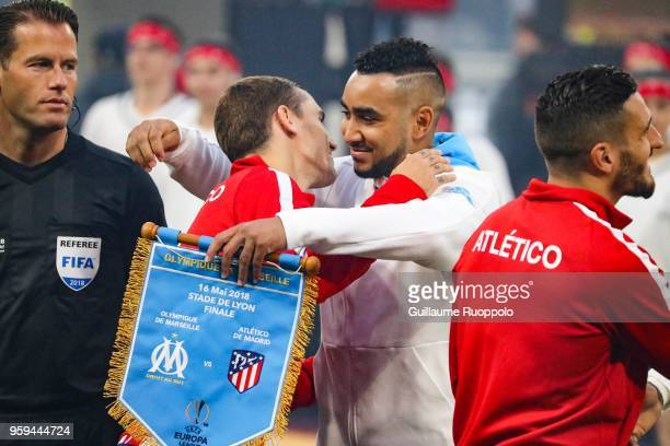 Antoine Griezmann of Atletico Madrid and Dimitri Payet of Marseille during the Europa League Final match between Marseille and Atletico Madrid at...