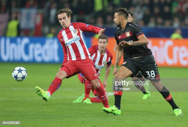 Antoine Griezmann of Atletico Madrid and Karim Bellarabi of Bayer Leverkusen battle for the ball during the UEFA Champions League Round of 16 first...