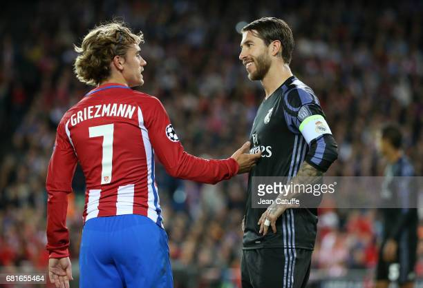 Antoine Griezmann of Atletico Madrid and Sergio Ramos of Real Madrid during the UEFA Champions League Semi Final second leg match between Club...