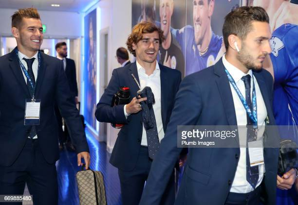Antoine Griezmann of Atletico Madrid arrives at King Power Stadium ahead of the UEFA Champions League Quarter Final Second Leg match between...