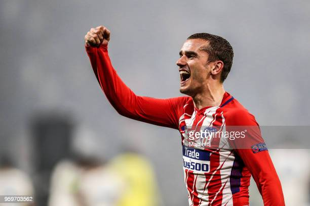 Antoine Griezmann of Atletico Madrid celebrate the victory following the UEFA Europa League Final between Olympique de Marseille and Club Atletico de...
