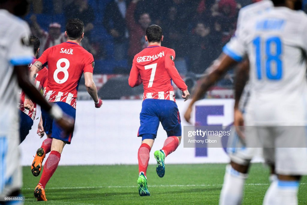 Antoine Griezmann of Atletico Madrid celebrates a goal during the Europa League Final match between Marseille and Atletico Madrid at Groupama Stadium on May 16, 2018 in Lyon, France.