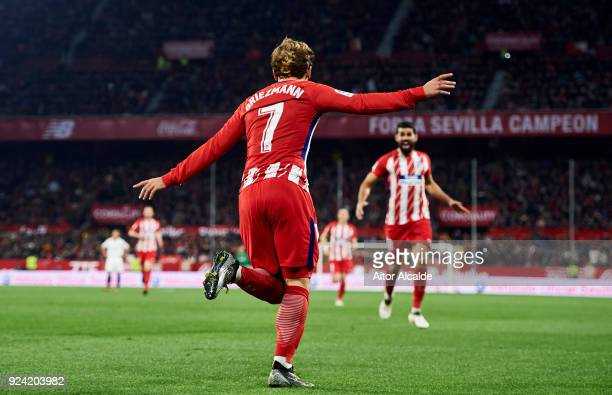 Antoine Griezmann of Atletico Madrid celebrates after his teammate Jorge Resurreccion 'Koke' scoring his team's fourth goal during the La Liga match...