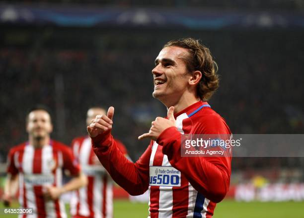 Antoine Griezmann of Atletico Madrid celebrates after scoring a goal during the UEFA Champions League round of sixteen soccer match between Bayer 04...