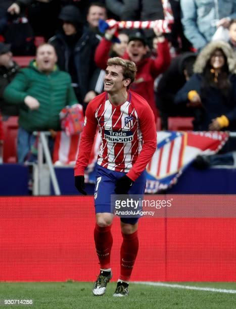 Antoine Griezmann of Atletico Madrid celebrates after scoring a goal during the La Liga soccer match between Atletico Madrid and Celta Vigo at Wanda...
